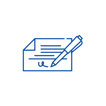 Check signature line concept icon. Check signature flat  vector website sign, outline symbol, illustration.
