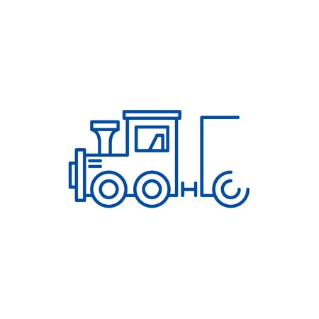 Childrens locomotive line concept icon. Childrens locomotive flat  vector website sign, outline symbol, illustration. Foto de archivo - 119715500