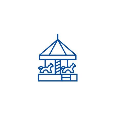 Childrens merry go round  line concept icon. Childrens merry go round  flat  vector website sign, outline symbol, illustration.