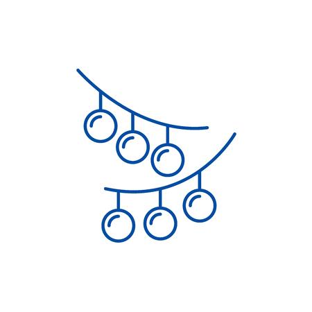 Christmas lights line concept icon. Christmas lights flat  vector website sign, outline symbol, illustration.
