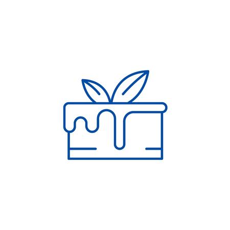 Chocolate cake line concept icon. Chocolate cake flat  vector website sign, outline symbol, illustration. Illustration
