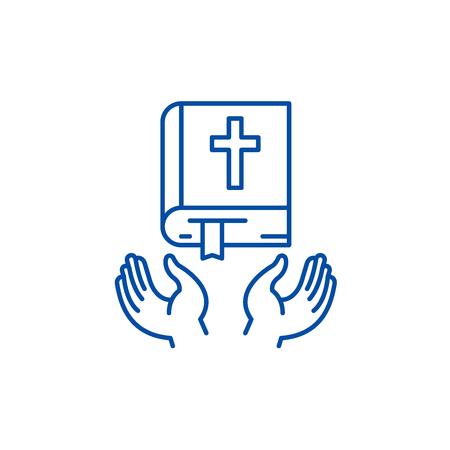 Christian religion line concept icon. Christian religion flat  vector website sign, outline symbol, illustration. Illustration