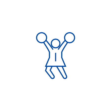 Cheerleader line concept icon. Cheerleader flat  vector website sign, outline symbol, illustration.