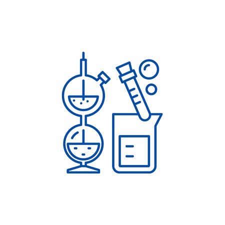 Chemistry line concept icon. Chemistry flat  vector website sign, outline symbol, illustration.