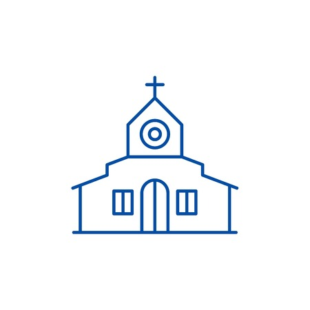 Church line concept icon. Church flat  vector website sign, outline symbol, illustration.