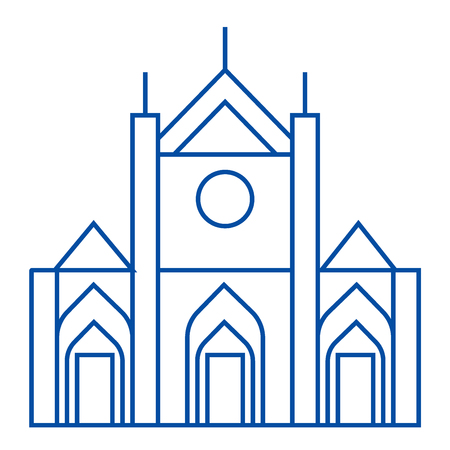 Church sign line concept icon. Church sign flat  vector website sign, outline symbol, illustration. Foto de archivo - 119715524