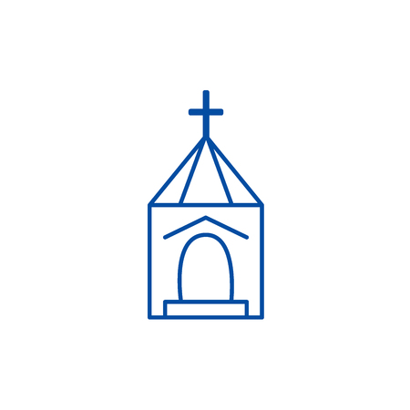 Church, wedding line concept icon. Church, wedding flat  vector website sign, outline symbol, illustration.