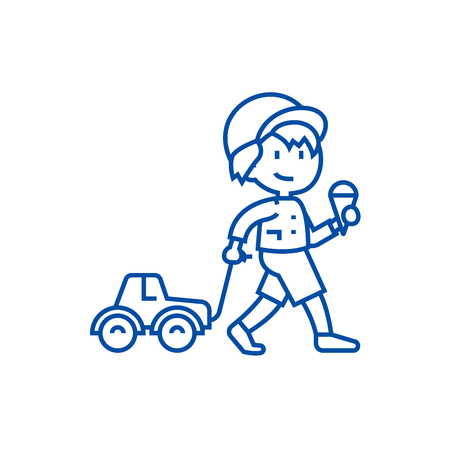 Child with ice cream and car toy on rope  line concept icon. Child with ice cream and car toy on rope  flat  vector website sign, outline symbol, illustration. Ilustrace