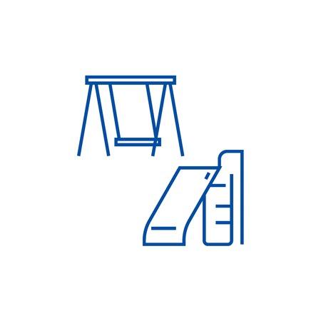 Children slide and swing line concept icon. Children slide and swing flat  vector website sign, outline symbol, illustration. 일러스트