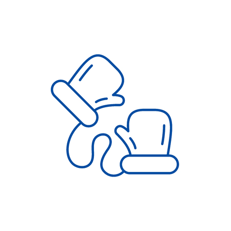 Childrens mittens line concept icon. Childrens mittens flat  vector website sign, outline symbol, illustration.