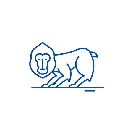 Chimpanzee line concept icon. Chimpanzee flat  vector website sign, outline symbol, illustration. Illustration