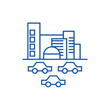 City,traffic, cars line concept icon. City,traffic, cars flat  vector website sign, outline symbol, illustration.