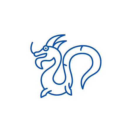 Chinese dragon line concept icon. Chinese dragon flat  vector website sign, outline symbol, illustration.