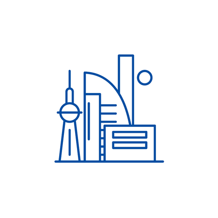 Chinese skyscrapers line concept icon. Chinese skyscrapers flat  vector website sign, outline symbol, illustration.  イラスト・ベクター素材
