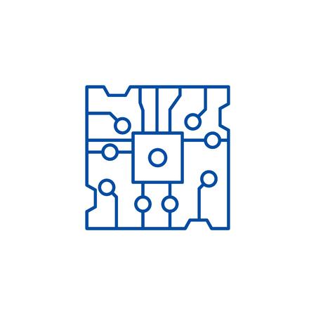 Chip line concept icon. Chip flat  vector website sign, outline symbol, illustration. Иллюстрация
