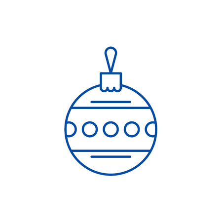 Christmas ball with ornament line concept icon. Christmas ball with ornament flat  vector website sign, outline symbol, illustration.