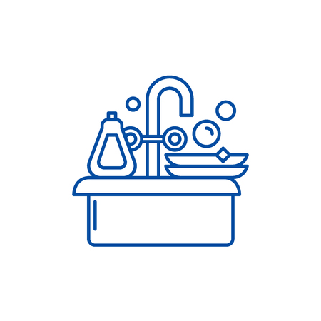 Cleaning dishes line concept icon. Cleaning dishes flat  vector website sign, outline symbol, illustration.