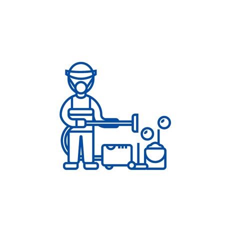 Cleaning service,houskeeping  line concept icon. Cleaning service,houskeeping  flat  vector website sign, outline symbol, illustration.