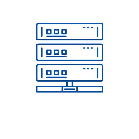 Cloud server line concept icon. Cloud server flat  vector website sign, outline symbol, illustration. Illustration
