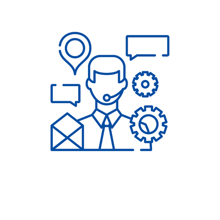 Client support line concept icon. Client support flat  vector website sign, outline symbol, illustration. Vectores