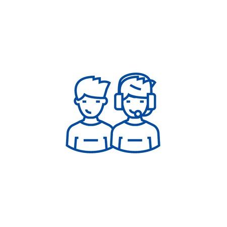 Client support team line concept icon. Client support team flat  vector website sign, outline symbol, illustration.