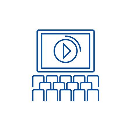 Cinema screen, show line concept icon. Cinema screen, show flat  vector website sign, outline symbol, illustration. Stock Illustratie
