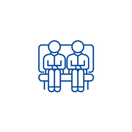 Clients,two men on sofa,partners line concept icon. Clients,two men on sofa,partners flat  vector website sign, outline symbol, illustration.