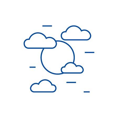 Cloudy day line concept icon. Cloudy day flat  vector website sign, outline symbol, illustration. Illusztráció