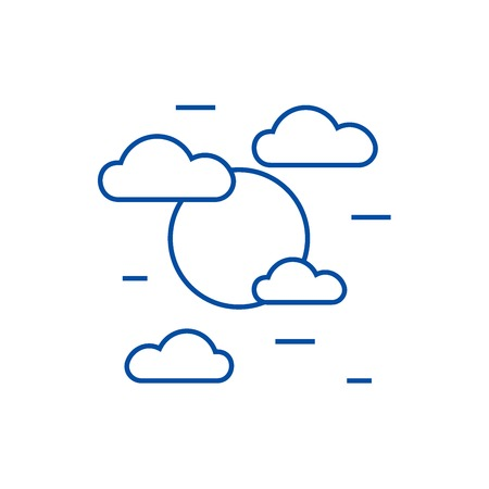 Cloudy day line concept icon. Cloudy day flat  vector website sign, outline symbol, illustration. Illustration