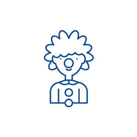 Clown line concept icon. Clown flat  vector website sign, outline symbol, illustration.