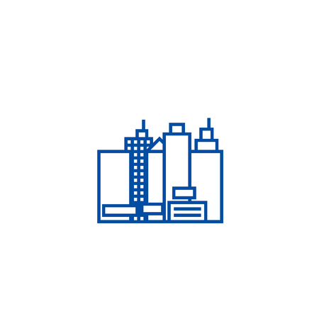City,new town  line concept icon. City,new town  flat  vector website sign, outline symbol, illustration.
