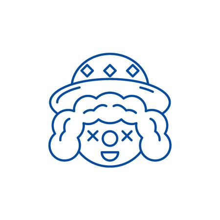 Clown face line concept icon. Clown face flat  vector website sign, outline symbol, illustration.