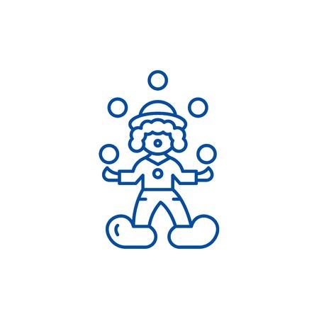 Clown juggler line concept icon. Clown juggler flat  vector website sign, outline symbol, illustration.