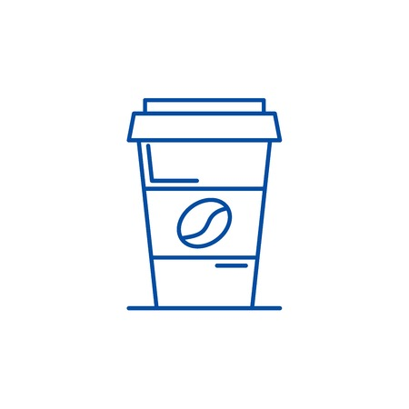 Coffee to go line concept icon. Coffee to go flat  vector website sign, outline symbol, illustration.