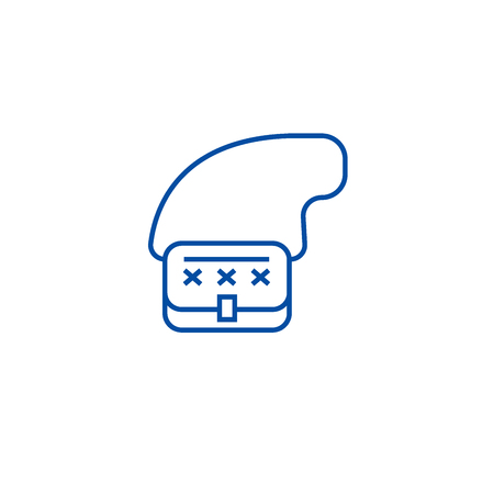 Clutch bag line concept icon. Clutch bag flat  vector website sign, outline symbol, illustration. Illustration