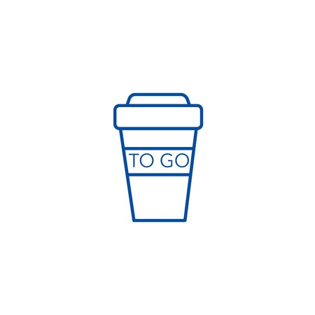 Coffee to go cup line concept icon. Coffee to go cup flat  vector website sign, outline symbol, illustration.
