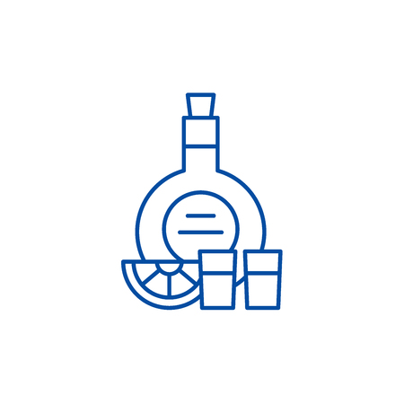 Cognac line concept icon. Cognac flat  vector website sign, outline symbol, illustration. Ilustrace