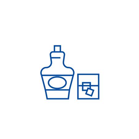 Cognac, brandy line concept icon. Cognac, brandy flat  vector website sign, outline symbol, illustration.