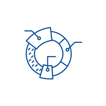 Cohort analysis line concept icon. Cohort analysis flat  vector website sign, outline symbol, illustration.