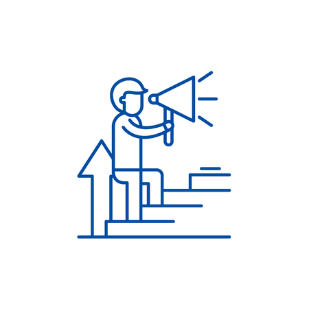 Coaching line concept icon. Coaching flat  vector website sign, outline symbol, illustration.