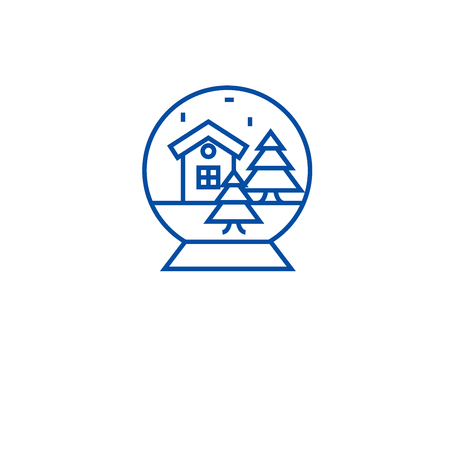 Christmas snow glass ball line concept icon. Christmas snow glass ball flat vector website sign, outline symbol, illustration.