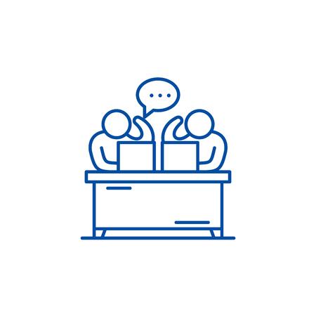 Commentators line concept icon. Commentators flat  vector website sign, outline symbol, illustration.