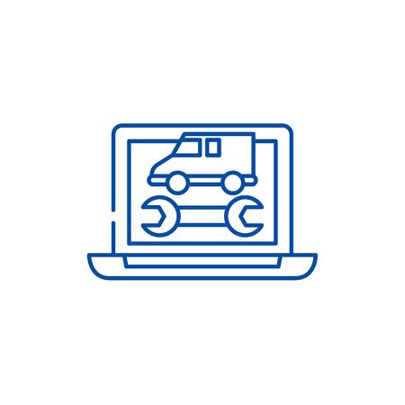 Computer diagnostics line concept icon. Computer diagnostics flat  vector website sign, outline symbol, illustration. Stock Illustratie
