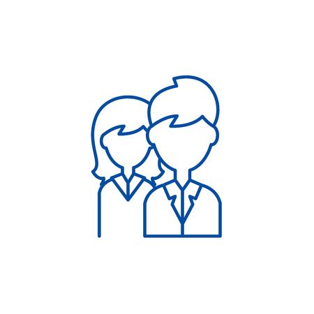 Company staff line concept icon. Company staff flat  vector website sign, outline symbol, illustration. Illustration