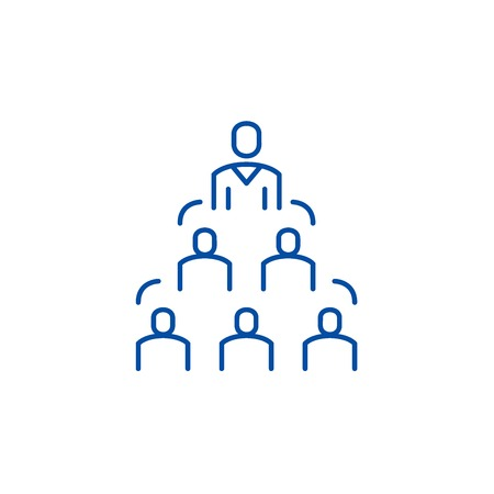 Symbol für das Konzept der Unternehmensstruktur. Firmenstruktur flaches Vektor-Website-Zeichen, Umrisssymbol, Illustration.