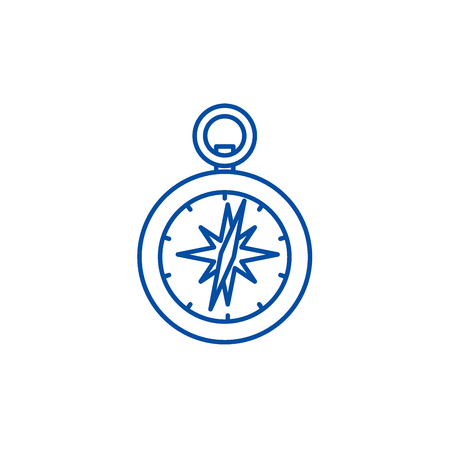 Compass line concept icon. Compass flat  vector website sign, outline symbol, illustration. Иллюстрация