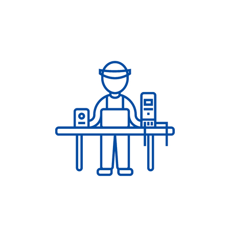 Computer service,pc specialist,enigneer line concept icon. Computer service,pc specialist,enigneer flat  vector website sign, outline symbol, illustration. Ilustração