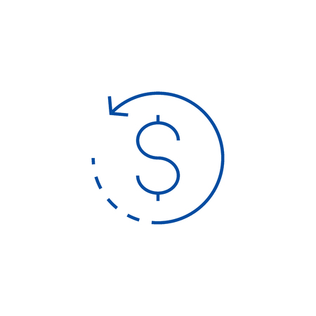 Coin with round arrow line concept icon. Coin with round arrow flat  vector website sign, outline symbol, illustration.