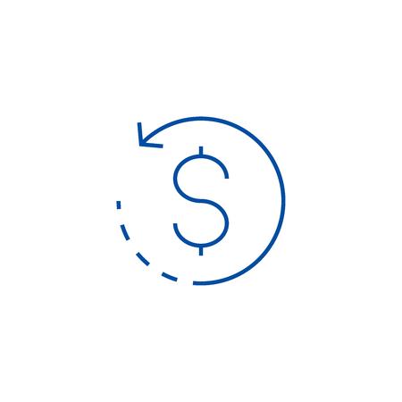 Pièce de monnaie avec l'icône de concept de ligne de flèche ronde. Pièce de monnaie avec signe de site Web vecteur plat flèche ronde, symbole du contour, illustration. Vecteurs