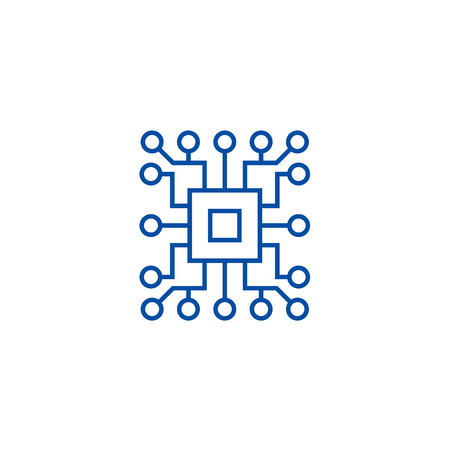 Informatique, icône de concept de ligne de circuit. Informatique,circuit plat vector website sign, symbole du contour, illustration.